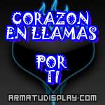 display CORAZON EN LLAMAS  POR TI